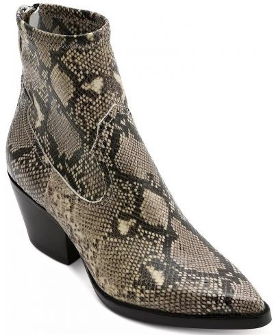 Black And White Snake Emossed Leather Western Boots