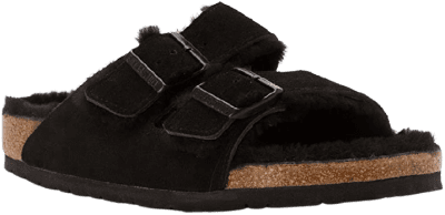 Black Arizona Shearling Sandals-Birkenstock