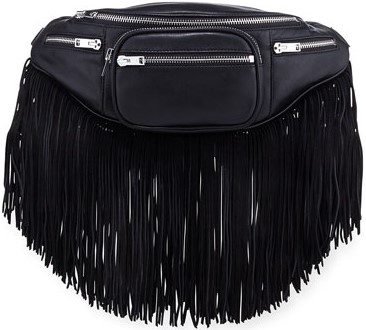 Black Attica Fringe Trim Belt Bag-Alexander Wang