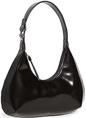 Black Baby Amber Black Semi Patent Leather Bag-By Far