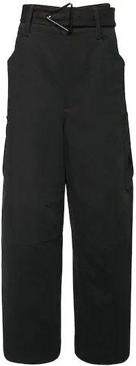 Black Belted Double Cotton Canvas Pants-Bottega Veneta