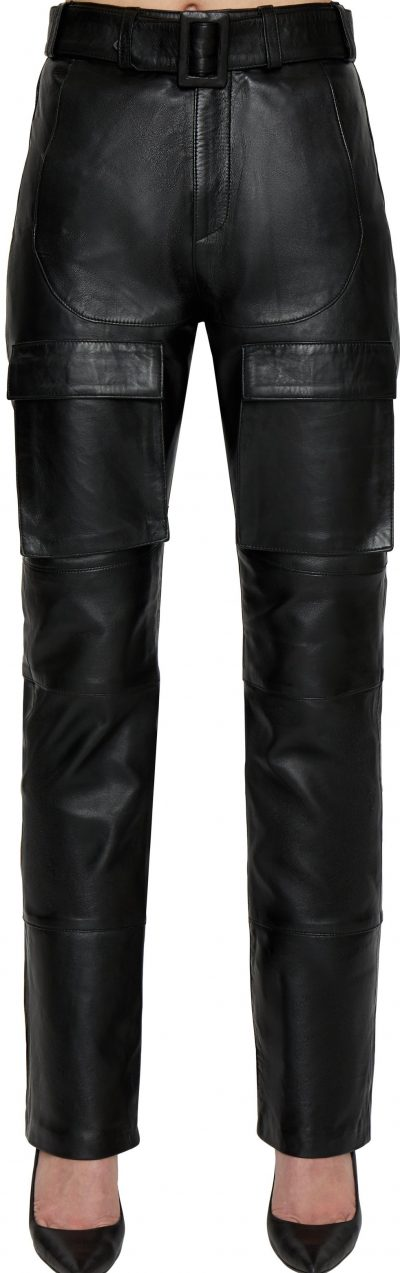 Black Belted Leather Cargo Pants