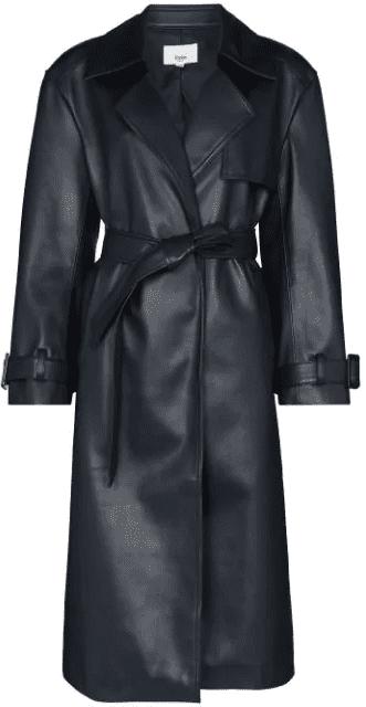 Black Belted-Waist Midi Trench Coat