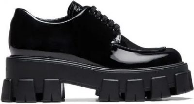 Black Chunky Sole Derby Shoes-Prada