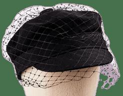 Black Cotton Veil Cap