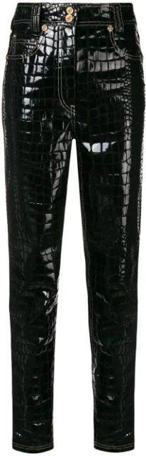 Black Crocodile Embossed Trousers