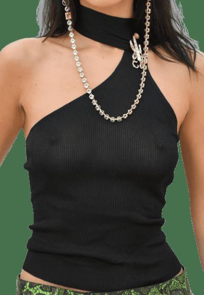 Black Cut Out Asymmetric Top-Dior