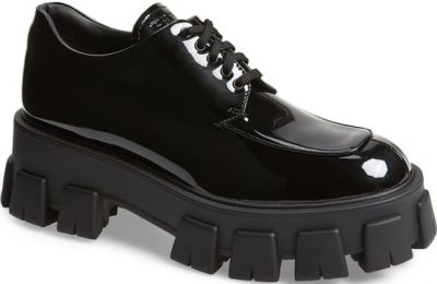 Black Exaggerated-Sole Patent-Leather Derby Shoes-Prada