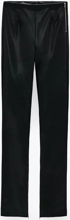 Black Extra Long Faux Leather Leggings-Zara