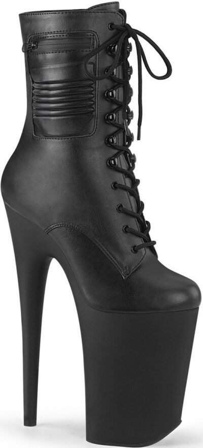 Black Faux Leather Infinity-1020PK Boots-Pleaser Shoes