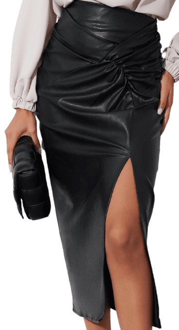 Black Faux Leather Ruched Midi Skirt