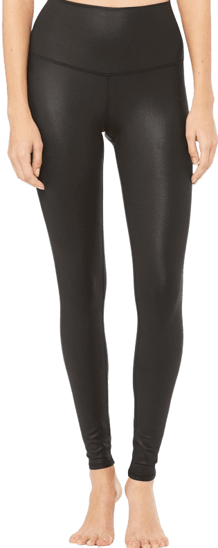 Black Glossy High-Waist Airbrush Leggings