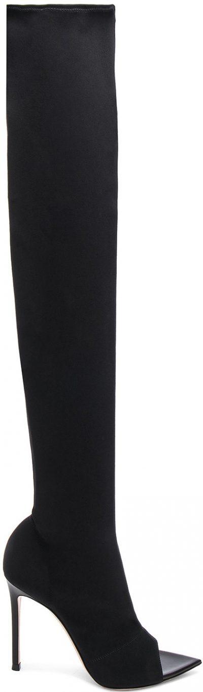 Black Gotham Cuissard Peep Toe Thigh High Boots-Gianvito Rossi