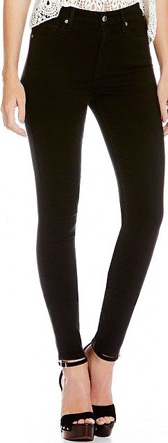 Black High Waist Skinny Jeans-7 For All Mankind