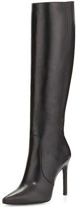 Black Hyper Pointed-Toe Knee Boot-Stuart Weitzman