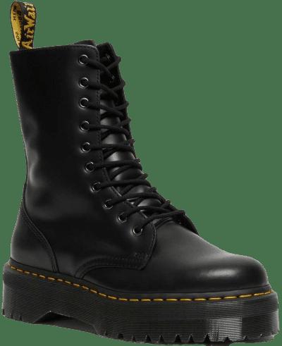 Black Jadon Hi Smooth Leather Platform Boots-Dr. Martens