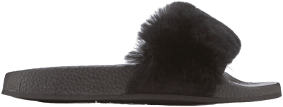 Black Koat Fur Slide Sandals-Carvela