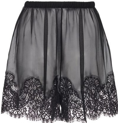 Black Lace-Detailed Chiffon Shorts