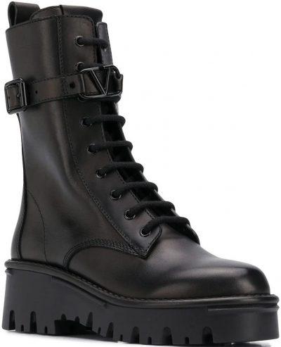 Black Lace-Up Military Boots-Valentino Garavani