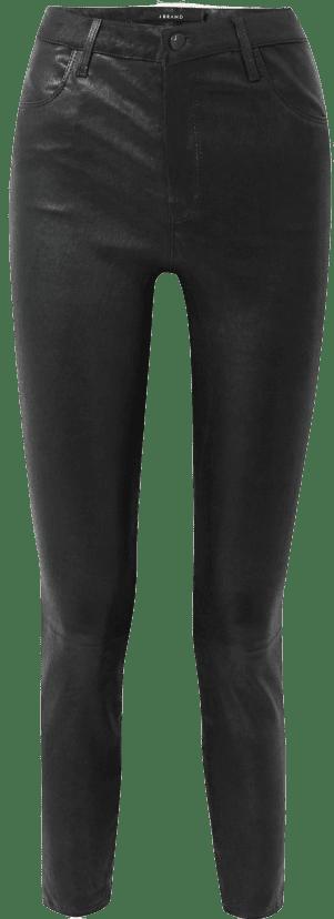 Black Leather Alana Cropped Skinny Pants