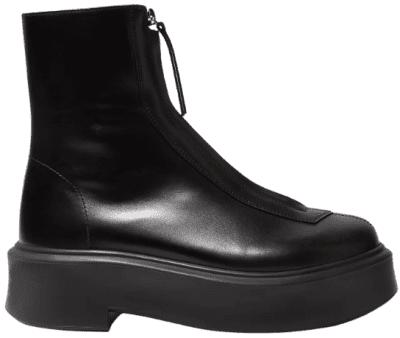 Black Leather Ankle Boots-The Row