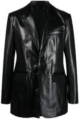 Black Leather Blazer-Acne Studios