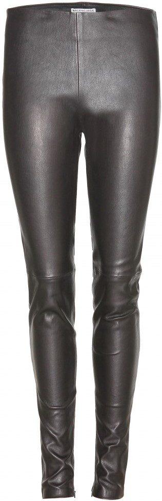 Black Leather Leggings-Balenciaga