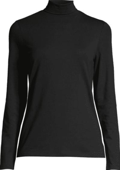 Black Long-Sleeve Turtleneck Top