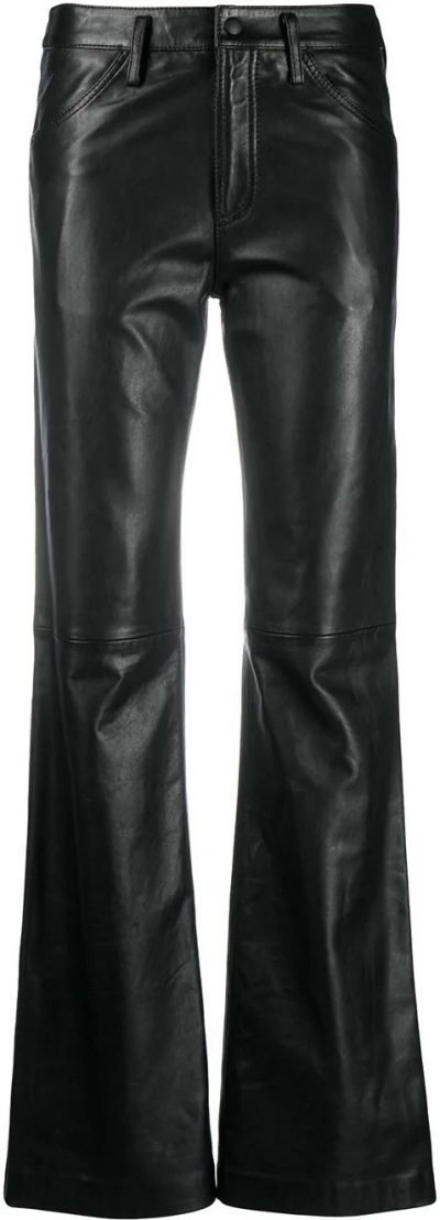 Black Matte Flared Trousers-Alberta Ferretti