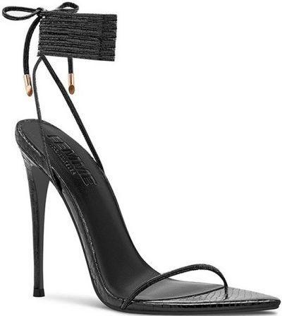 Black Metallic Vegan Python Sandals-Femme