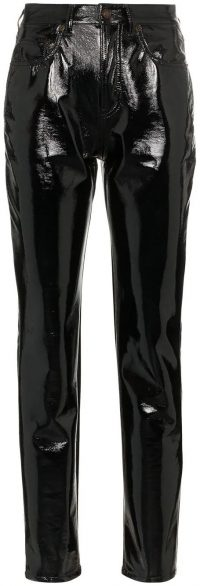 Black Mid-Rise Slim Fit Vinyl Trousers-Saint Laurent