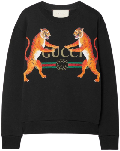 Black Oversized Printed Cotton-jersey Sweatshirt-Gucci