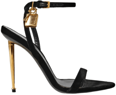 Black Padlock Embellished Velvet Sandals-Tom Ford