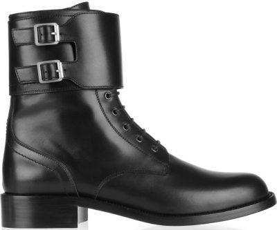 Black Patti Leather Army Boots-Saint Laurent