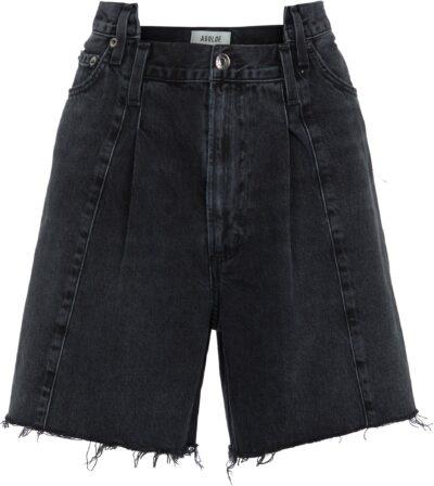 Black Pieced Angled Denim Shorts-Agolde