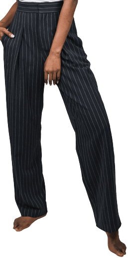 Black Pinstripe High Waisted Pants-Sundarbay