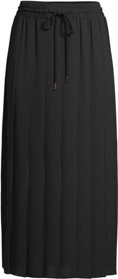 Black Pleated Drawstring Midi Skirt