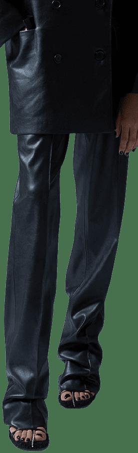 Black Pre-Fall 2021 Vegan Leather Pants-Anouki