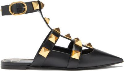 Black Roman Stud Point-Toe Backless Leather Flats-Valentino