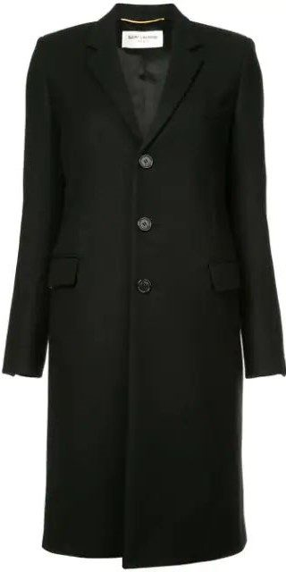 Black Single-Breasted Fitted Coat