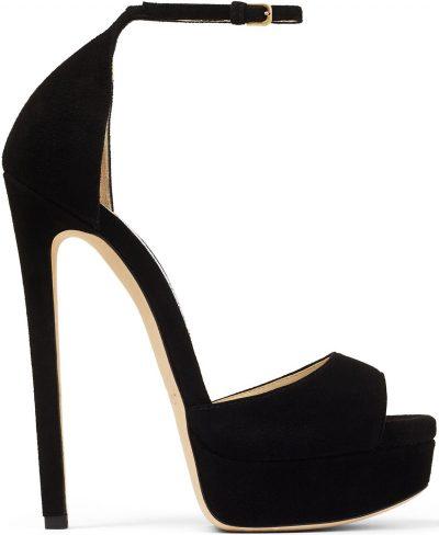 Black Suede Max Open Toe Platform Sandals-Jimmy Choo