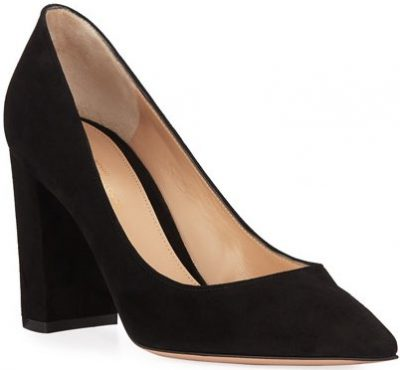 Black Suede Pointed-Toe with Chunky Heel Pumps-Gianvito Rossi