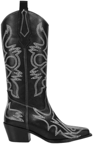Black Texas Stitched Cowboy Boots-HAVVA