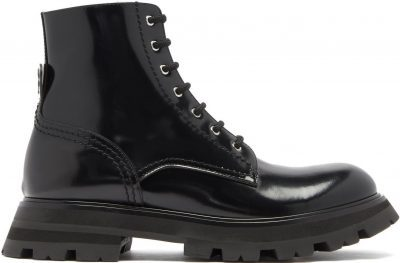 Black Wander Exaggerated-Sole Leather Boots-Alexander Mcqueen
