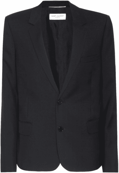 Black Wool Gabardine Blazer-Saint Laurent