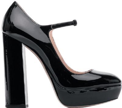 Black Leather Mary Jane Pumps