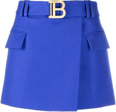 Blue Belted Short Skirt-Balmain
