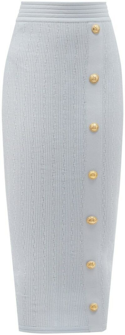 Blue Buttoned Rib-Knit Pencil Skirt-Balmain