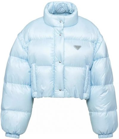 Blue Ciré Nylon Puffer Jacket-Prada