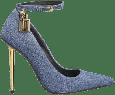 Blue Denim Padlock Stiletto Pumps-Tom Ford